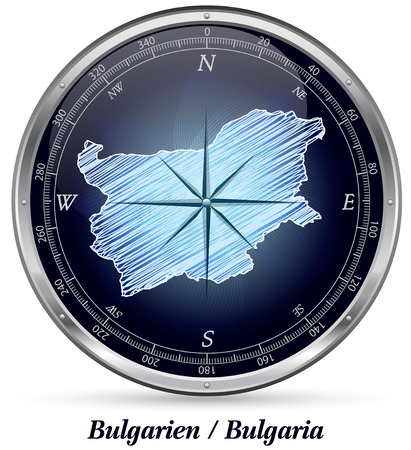 ruse: Map of Bulgaria with borders in chrome Stock Photo