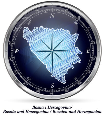 Map of Bosnia and Herzegovina with borders in chrome