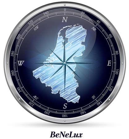 Kaart van de Benelux met randen in chroom Stockfoto