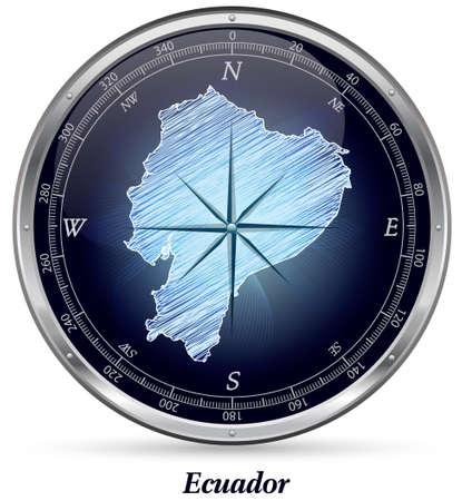 loja: Map of ecuador with borders in chrome
