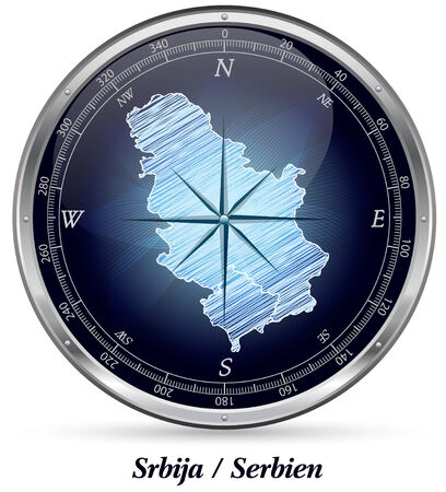Map of Serbia with borders in chrome