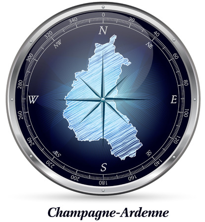 reims: Map of Champagne-Ardenne with borders in chrome
