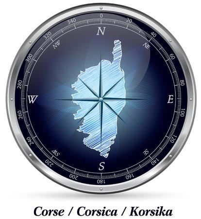ajaccio: Map of corsica with borders in chrome