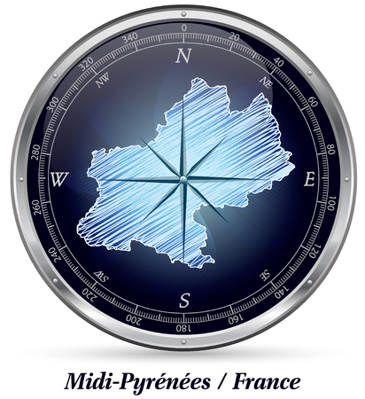 toulouse: Map of Midi-Pyrenees with borders in chrome