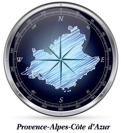 d���azur: Map of Provence-Alpes-Cote d Azur with borders in chrome Stock Photo