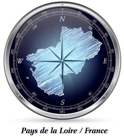 le roche: Map of Pays de la Loire with borders in chrome Stock Photo