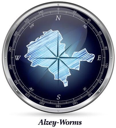Kaart van Alzey met randen in chroom Stockfoto