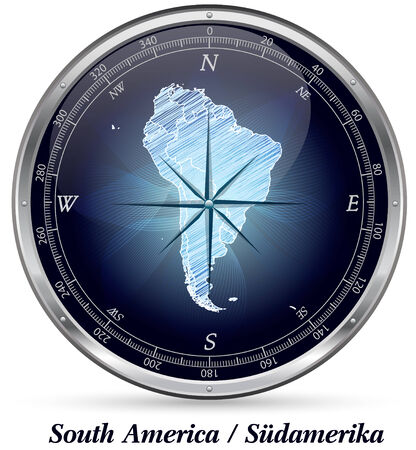 georgetown: Map of South America with borders in chrome Stock Photo