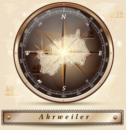 Map of Ahrweiler with borders in bronze photo