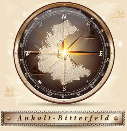 lasting: Map of Anhalt-Bitterfeld with borders in bronze Stock Photo