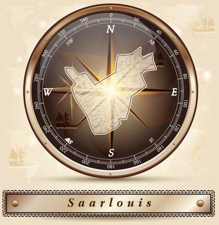 saarlouis: Map of Saarlouis with borders in bronze