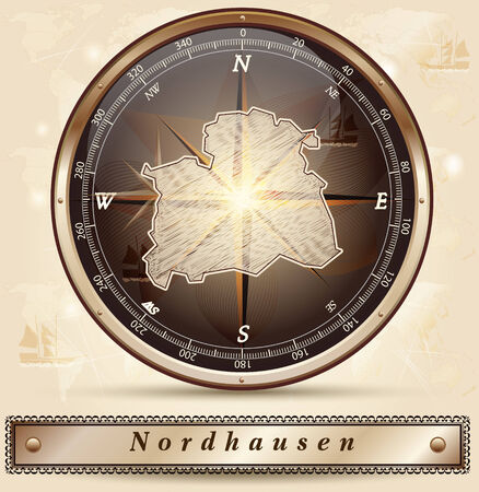 Map of nordhausen with borders in bronze
