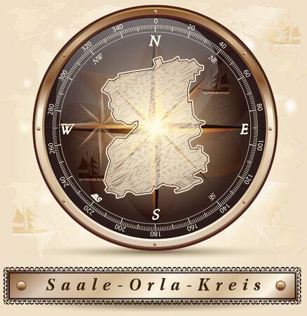orla: Map of Saale-Orla-Kreis with borders in bronze
