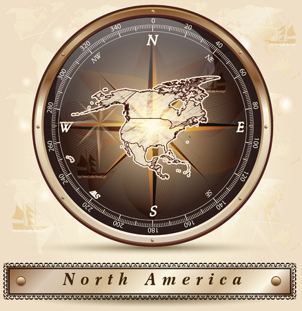 north america: Map of North America with borders in bronze Stock Photo