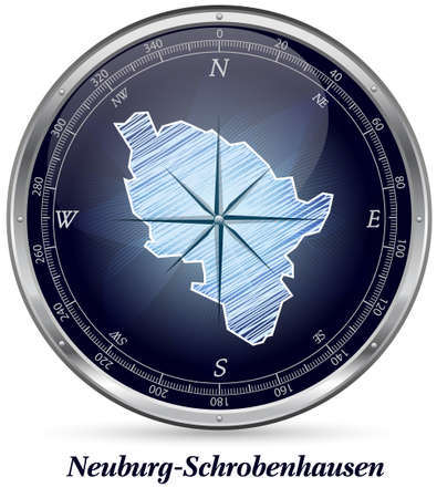 Map of Neuburg-Schrobenhausen with borders in chrome photo