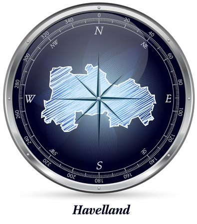falkensee: Map of Havelland with borders in chrome