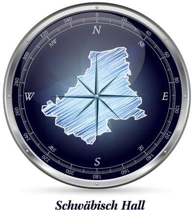 rosengarten: Map of Schwaebisch-Hall with borders in chrome