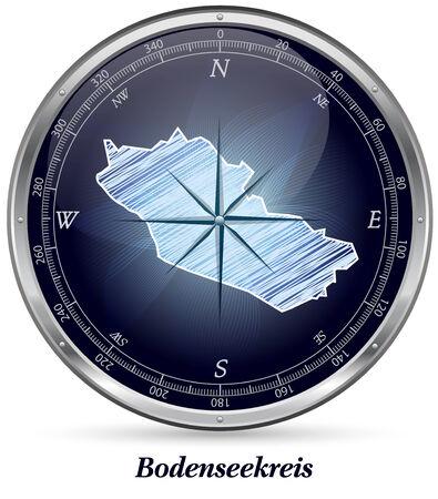 friedrichshafen: Map of Bodenseekreis with borders in chrome