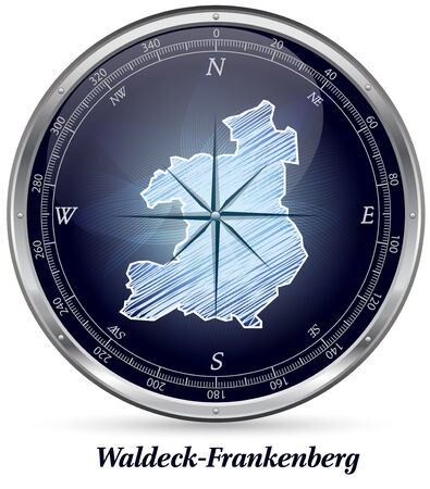 upland: Map of Waldeck-Frankenberg with borders in chrome