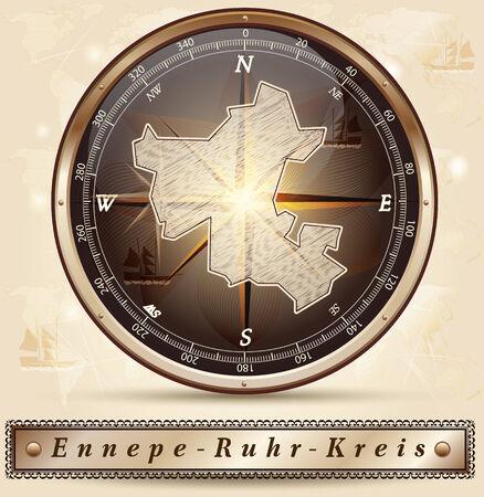 Karte von Ennepe-Ruhr-Kreis mit Grenzen in Bronze Standard-Bild - 35741159