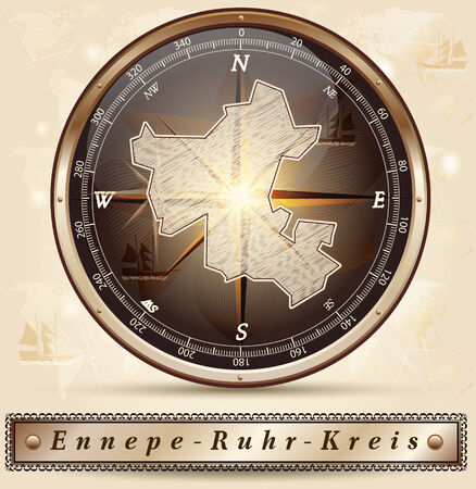 dysentery: Map of Ennepe-Ruhr-Kreis with borders in bronze