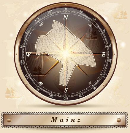 mainz: Map of Mainz with borders in bronze