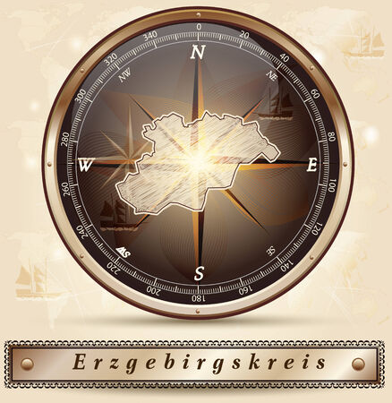 Map of Erzgebirgskreis with borders in bronze Stock Photo