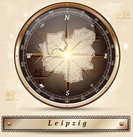 leipzig: Map of Leipzig with borders in bronze