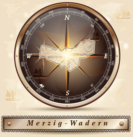 perl: Map of Merzig-Wadern with borders in bronze Stock Photo