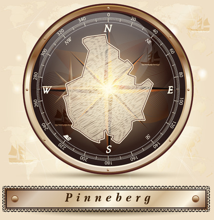 Map of Pinneberg with borders in bronze