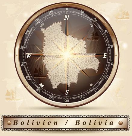 mapa de bolivia: Mapa de Bolivia con bordes en bronce Foto de archivo
