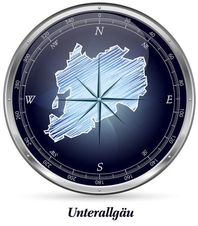 Kaart van Unterallgaeu met randen in chroom Stockfoto