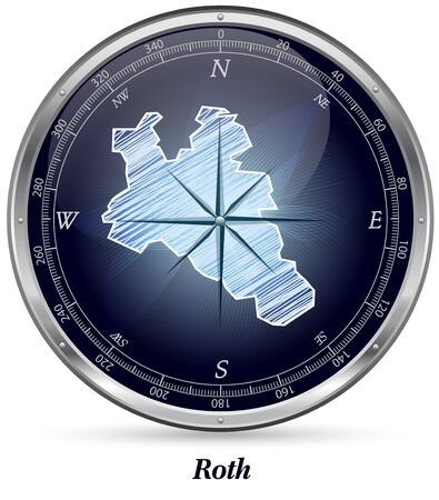 spalt: Map of Roth with borders in chrome Stock Photo