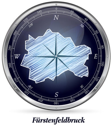 alling: Map of Fuerstenfeldbruck with borders in chrome