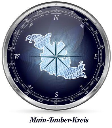 wertheim: Map of Main-Tauber-Kreis with borders in chrome Stock Photo