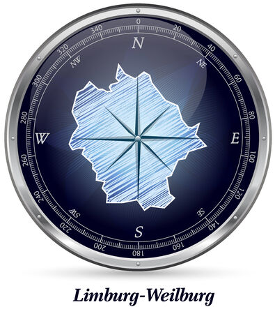 limburg: Map of Limburg-Weilburg with borders in chrome