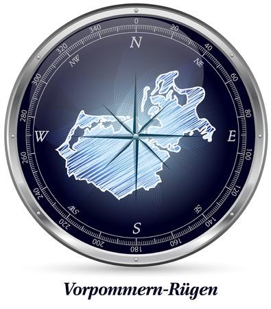 Mappa di Vorpommern-Ruegen con bordi cromati Archivio Fotografico - 35715252