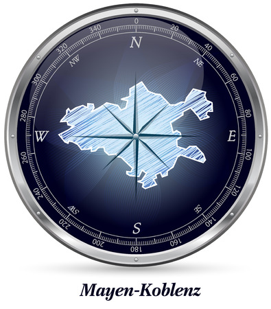 spay: Map of Mayen-Koblenz with borders in chrome