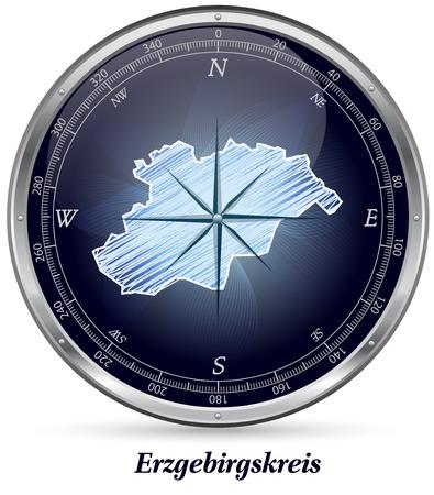 h�tte schnee: Karte von Erzgebirgskreis mit Grenzen in Chrom