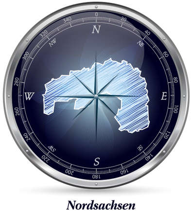 drainage: Map of Nordsachsen with borders in chrome