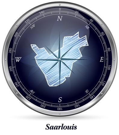 saarlouis: Mapa de Saarlouis con bordes cromados