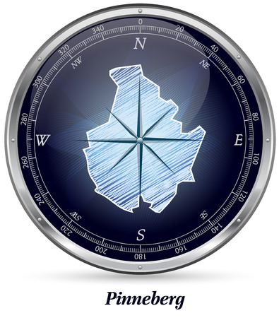 Map of Pinneberg with borders in chrome
