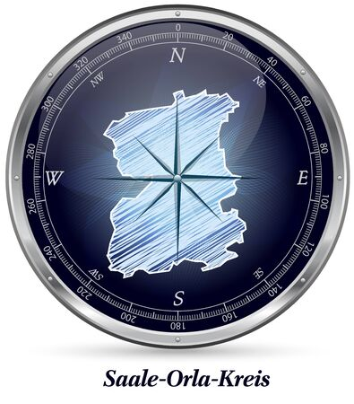 orla: Map of Saale-Orla with borders in chrome Stock Photo