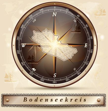 friedrichshafen: Map of Bodenseekreis with borders in bronze