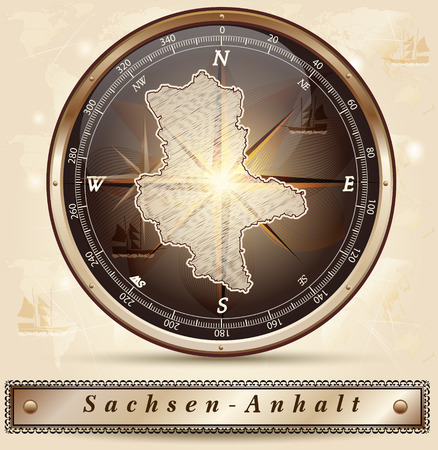 lasting: Map of Saxony-Anhalt with borders in bronze