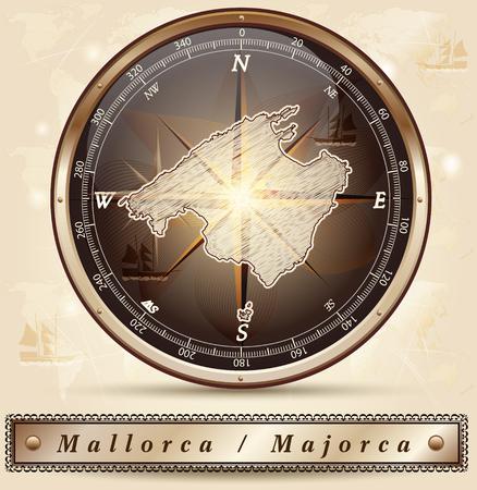 majorca: Map of mallorca with borders in bronze
