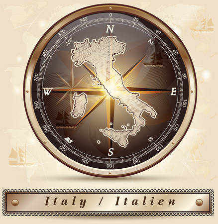 terni: Map of Italy with borders in bronze