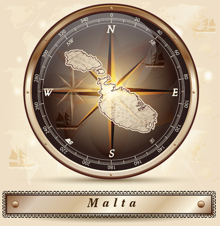 malta map: Map of Malta with borders in bronze