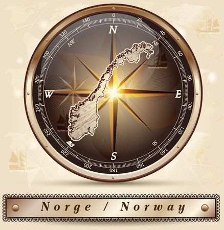 Map of Norway with borders in bronze