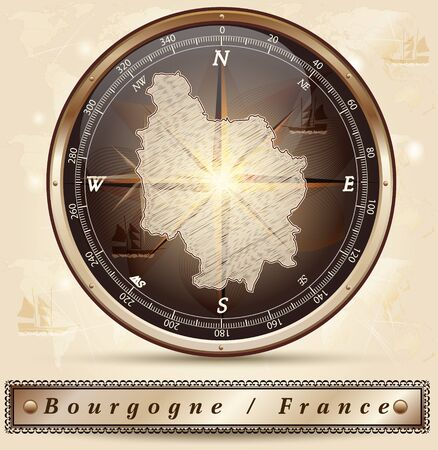 sens: Map of Burgundy with borders in bronze Illustration